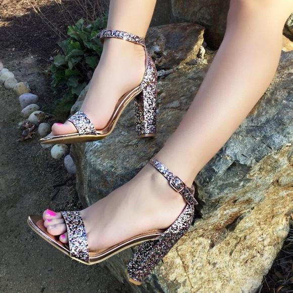 691f5ff7159d Open Toe Glitter Sparkle Block Heel Sandals. NWT. BAMBOO